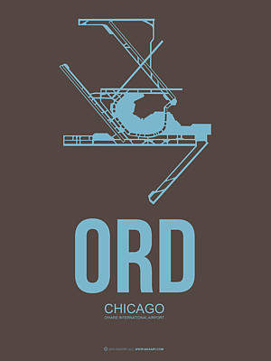 University Of Illinois Digital Art - Ord Chicago Airport Poster 2 by Naxart Studio