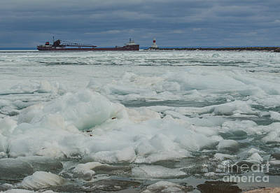 Photograph - Ore Freighter And Ice Floes Marquette by Deborah Smolinske