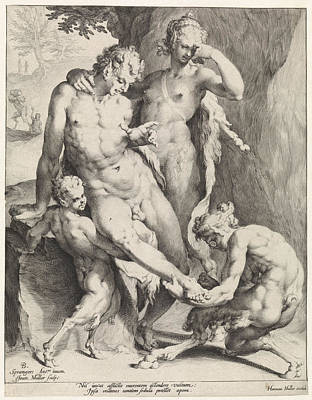 Oreaden Removing A Thorn From The Foot Of A Satyr Art Print by Jan Harmensz. Muller And Bartholomeus Spranger And Harmen Jansz Muller