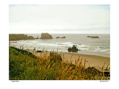 Art Print featuring the digital art Oregon Beach by Kenneth De Tore