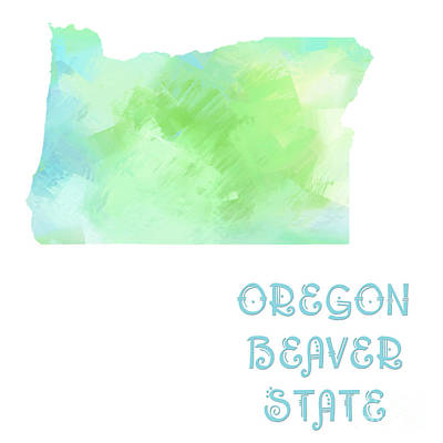 Beaver Digital Art - Oregon - Beaver State - Map - State Phrase - Geology by Andee Design