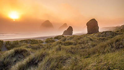 Photograph - Oregon Coast In The Fog At Sunset by Pierre Leclerc Photography