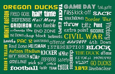 Oregon Ducks Art Print by Jaime Friedman