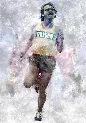 Running Digital Art - Oregon Ducks Steve Prefontaine by Daniel Hagerman