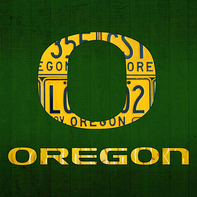 Oregon Ducks Vintage Recycled License Plate Art Art Print by Design Turnpike