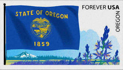 Geographic Location Painting - Oregon Flag by Lanjee Chee