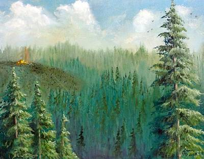 Logging Mixed Media - Oregon Harvest by Kenny Henson