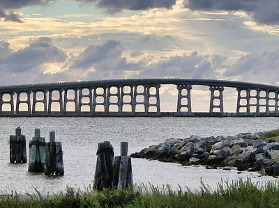 Oregon Inlet Bridge And Pilings Art Print by Patricia Januszkiewicz