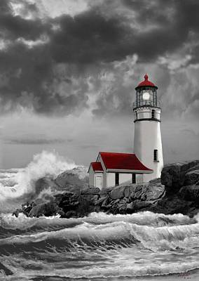 Landmarks Royalty-Free and Rights-Managed Images - Oregon lighthouse Cape Blanco in black white and red by Regina Femrite
