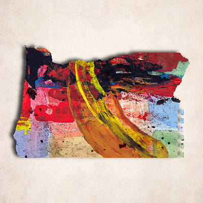 Oregon Art Digital Art - Oregon Map Art - Painted Map Of Oregon by World Art Prints And Designs