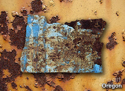 Orange Mixed Media - Oregon Map by Marvin Blaine