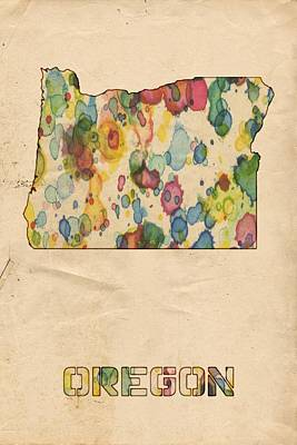 Painting - Oregon Map Vintage Watercolor by Florian Rodarte