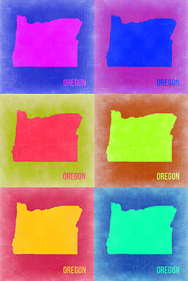 Pop Art Painting - Oregon Pop Art Map 2 by Naxart Studio