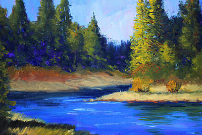 Painting - Oregon River Landscape by Nancy Merkle