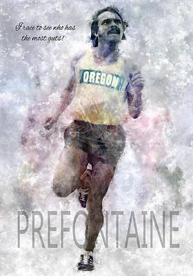 Duck Digital Art - Oregon Running Legend Steve Prefontaine by Daniel Hagerman