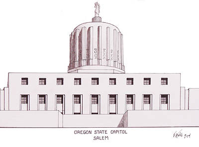 Drawing - Oregon State Capitol by Frederic Kohli