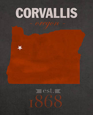 Oregon State Mixed Media - Oregon State University Beavers Corvallis College Town State Map Poster Series No 087 by Design Turnpike