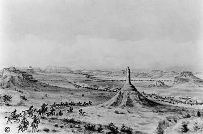 Oregon Drawing - Oregon Trail Chimney Rock by Granger
