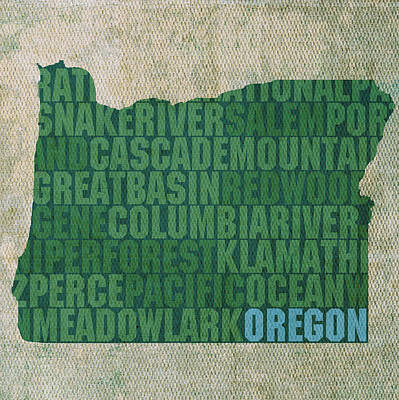 Wall Art - Mixed Media - Oregon Word Art State Map On Canvas by Design Turnpike