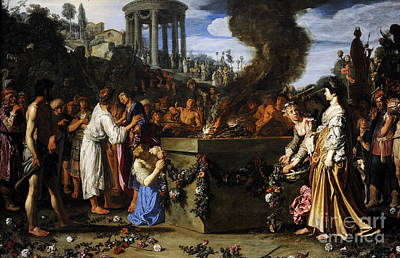 Crowd Scene Photograph - Orestes And Pylades Disputing At The Altar, 1614, By Pieter Lastman C.1583-1633 by Bridgeman Images