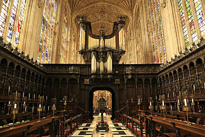 Wood Carving Photograph - Organ And Choir - King's College Chapel by Stephen Stookey