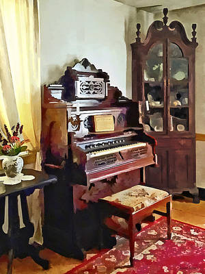 Photograph - Organ In Victorian Parlor With Vase by Susan Savad