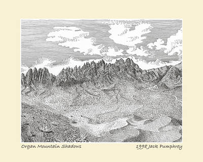 Drawing - Organ Mountain Shadows by Jack Pumphrey