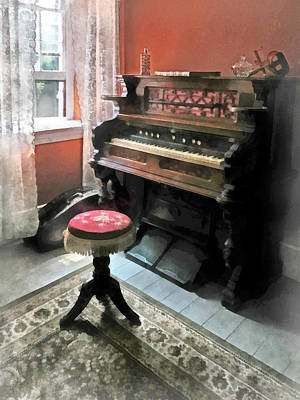 Stereopticon Photograph - Organ With Petit Point Stool by Susan Savad