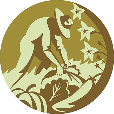 Organic Farmer Harvesting Vegetable Crops Retro Art Print by Aloysius Patrimonio