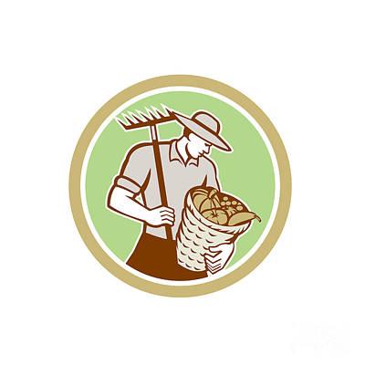 Organic Farmer Holding Rake Harvest Basket Retro Art Print