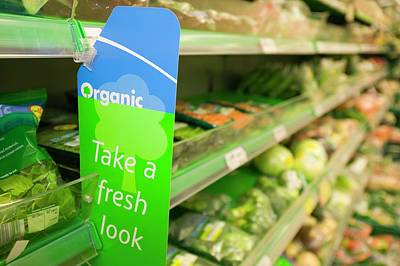 Supermarket Photograph - Organic Food In A Supermarket by Ashley Cooper