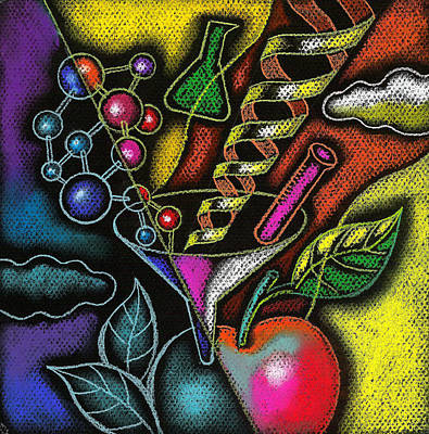 Biology Painting - Organic Food by Leon Zernitsky