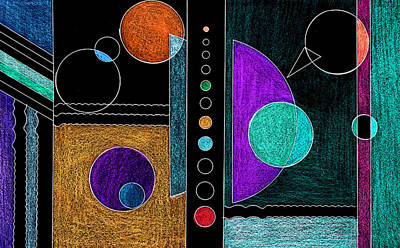 Colored Pencil Abstract Mixed Media - Organized Planets by Mary Bedy