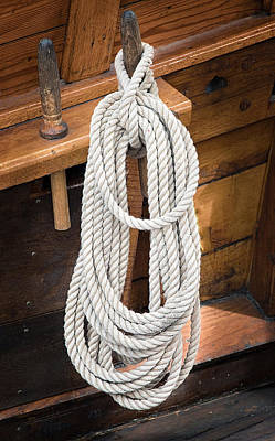 Photograph - Orgnized Ropes On Vintage Sailing Vessel by Gary Slawsky