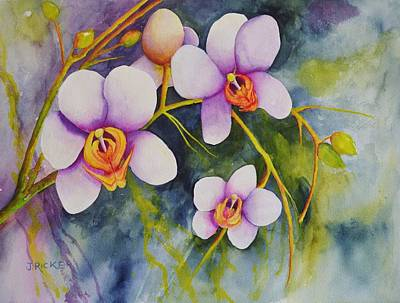 Painting - Orchids In My Garden by Jane Ricker