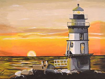 Painting - Orient Point Lighthouse by Donna Blossom