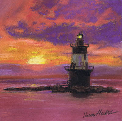 Painting - Orient Point Lighthouse Sunset by Susan Herbst