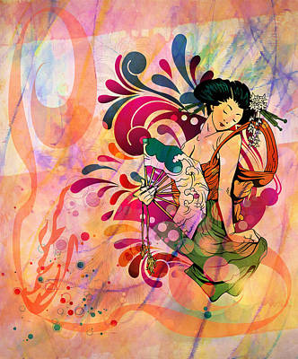 Red White And Blue Mixed Media - Oriental Beauty Colorful by Georgiana Romanovna