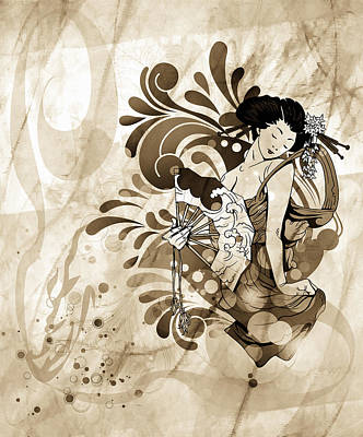 Figurative Art Mixed Media - Oriental Beauty Sepia Tone by Georgiana Romanovna