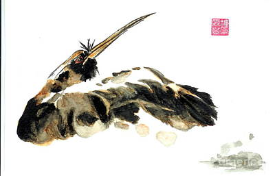 Oriental Style Painting - Oriental Bird by Sandy Linden