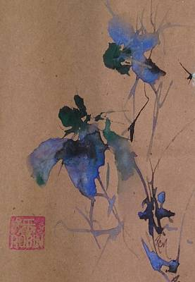 Oriental Blue Louisiana Iris Flower Study  Art Print