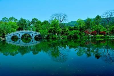 Photograph - Oriental Bridge Over West Lake by Larry Moloney