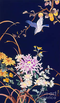 Digital Art - Oriental Flowers And Bird by Haruyo Morita