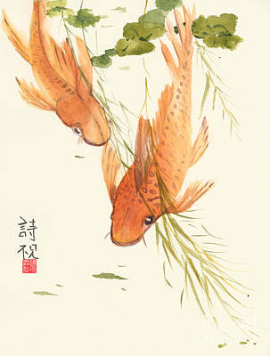 Fish Painting - Oriental Koi II by Sandy Linden