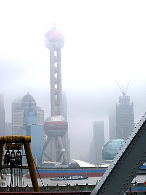 Photograph - Oriental Pearl Tower Under Fog by Nicola Nobile