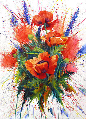 Inc Painting - Oriental Poppy Chaos by Karen Mattson