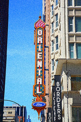 Photograph - Oriental Theater With Sponge Painting Effect by Frank Romeo