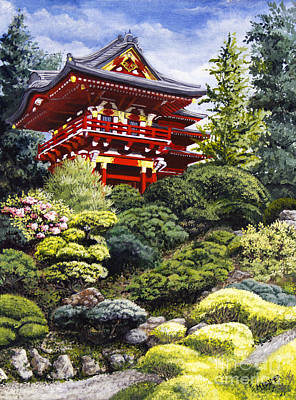Japanese Tea Garden Painting - Oriental Treasure by Mary Palmer