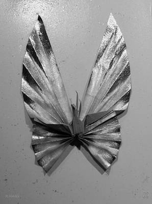 Photograph - Origami Butterfly In Black And White by Rob Hans