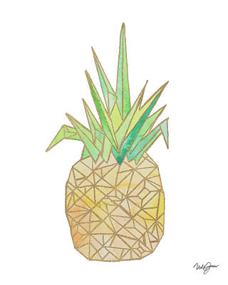 Pineapple Digital Art - Origami Pineapple by Nola James